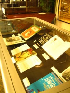 Spooky Special Collections Display, containing a feature of Agnes Moorehead's work in the realm of suspense and supernatural.
