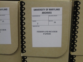 Ferdinand Reyher papers at the University of Maryland, Special Collections: Literature and Rare Books Collections