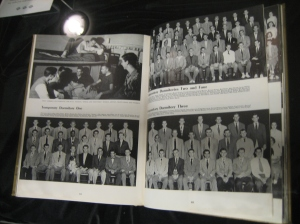 Hiram Whittle, the first African-American undergraduate at UMD, is photographed with his dormmates (bottom-left photo).