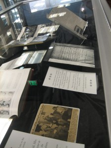 The display case in the Maryland Room features two UMD yearbooks and some items from Leon Washington Condol's papers.