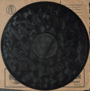 "16"" RCA Victor ""Orthacoustic"" transcription disc, made for the NBC' Thesaurus label. Broadcasting Archives, Special Collections, University of Maryland Libraries"