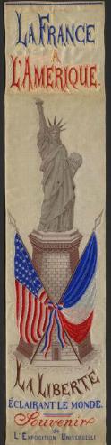 La France a L'Amerique, La Liberte eclairant le Monde. Paris Universal Exposition of 1878. Bartholdi, Frédéric Auguste, 1834-1904. Badges: color.