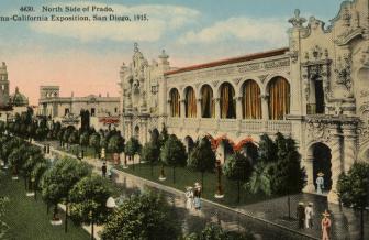 Prado, north side. Panama-California Exposition (1915 : San Diego, Calif.). Goodhue, Bertram Grosvenor, 1869-1924. Postcards.