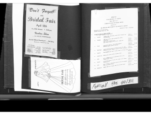 The 1961 Scrapbook of the Associated Women Students, featuring pages about their Bridal Fair on April 18th.