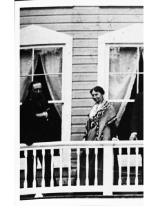 Clara Barton, 2nd from the left, at Clara Barton House in Cabin John, Maryland. From the Clara Barton Papers, Special Collections, University of Maryland Libraries.