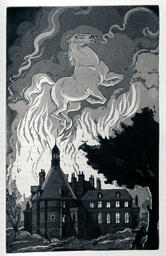'Metzengerstein' Edgar Allan Poe.  'Tales of Mystery & Imagination' With 16 aquatints by William Sharp. New York: Garamond Press, 1941.