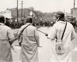 Student protesters face down riot police on Route 1, University of Maryland, 1970