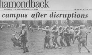 Diamondback showing Disruptions on Campus, 1971