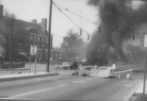 Smoky gas plume rising on Route 1 during protest, University of Maryland, May 5, 1971