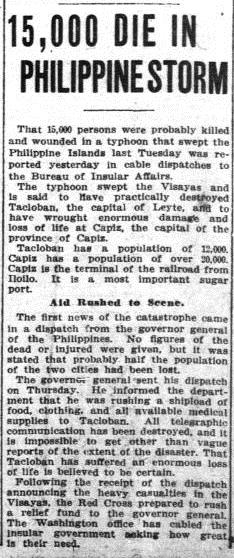 "Image of article with headline ""15,000 DIE IN PHILIPPINE STORM"" from the November 30, 1912, issue of the Washington Herald."