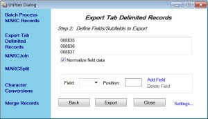 Exporting in MARCedit Step 2