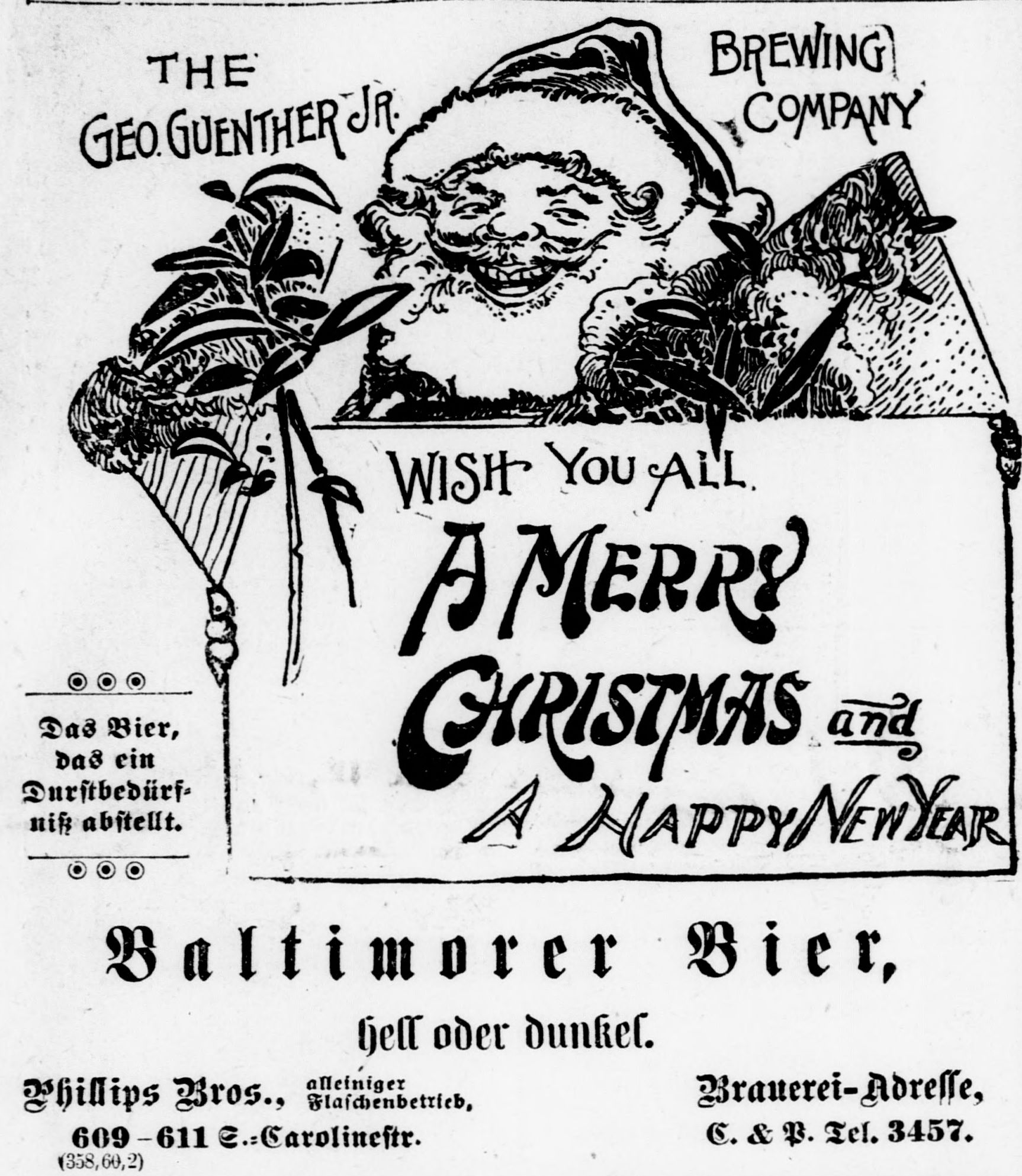 "Image of Santa Claus with text ""Wish you all A Merry Christmas and A Happy New Year"" from Der Deutsche Correspondent, December 24, 1900."
