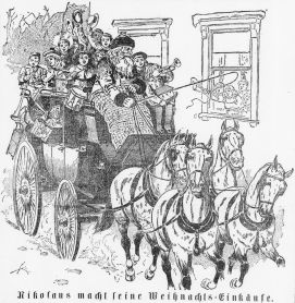 Image of Santa and children in a sleigh pulled by horse from Der Sonntags-Correspondent, December 15, 1894.