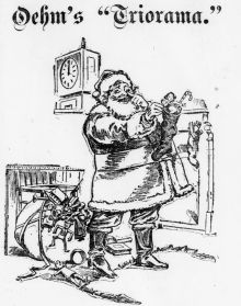 Image of Santa filling a stocking with toys in front of a fireplace from Der Deutsche Correspondent, December 15, 1896.