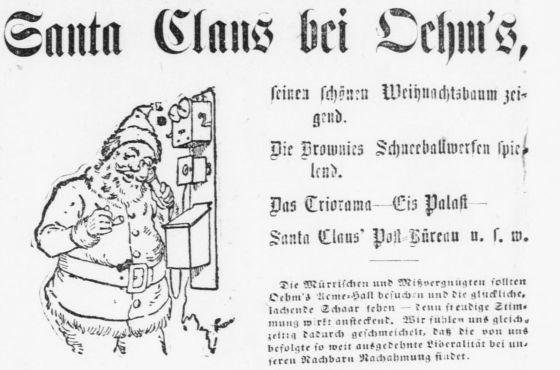 Advertisement featuring Santa Claus from Der Deutsche Correspondent, December 19, 1896.