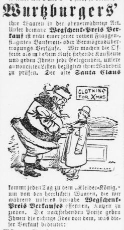 Santa fits a man for an overcoat in an advertisement from Der Deutsche Correspondent, December 19, 1896.