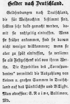 Advertisement in German for remittances to Germany.
