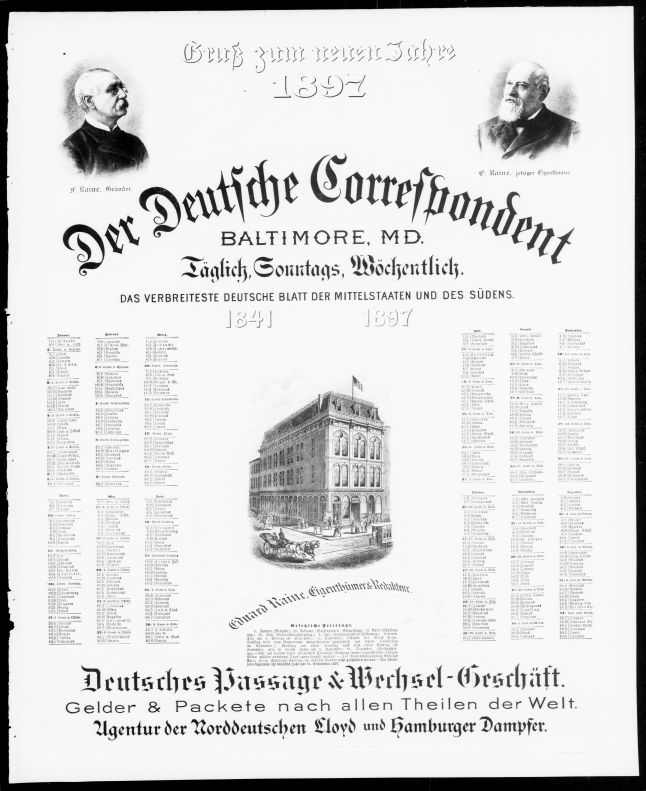 Calendar for 1897 printed in Der Deutsche Correspondent, December 29, 1896.