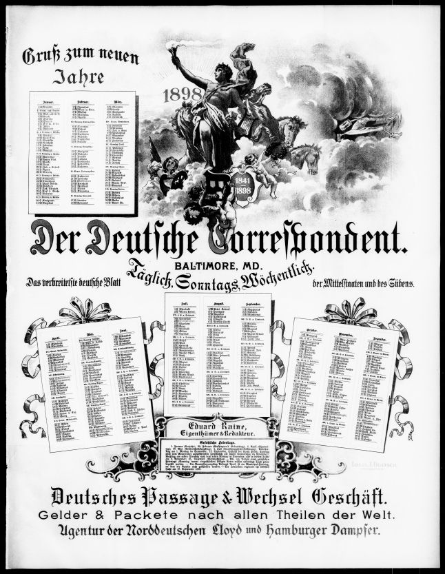 Calendar for 1898 printed in Der Sonntags-Correspondent, December 24, 1897.