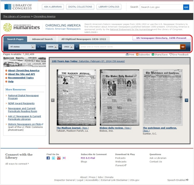 "A screen capture from Chronicling America. The ""Search Pages"" tab has been circled in red."