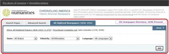 "A screen capture from Chronicling America of the tab ""All Digitized Newspapers 1836-1922."""