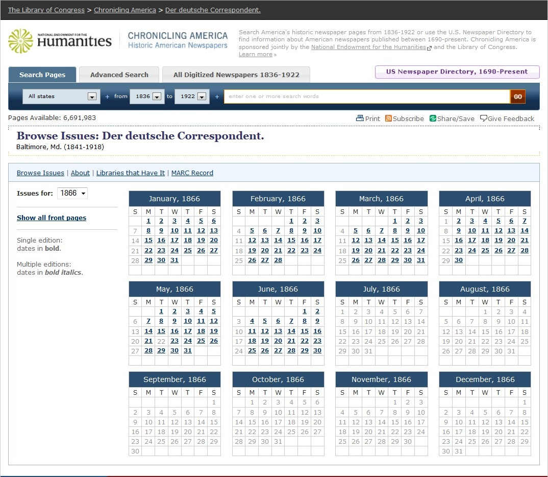 A screen capture from Chronicling America of the calendar view of Der Deutsche Correspondent.