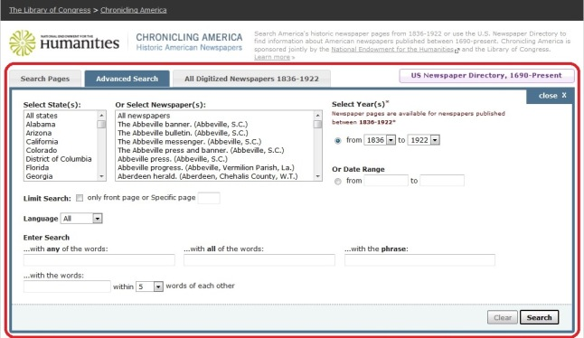 """A screen capture from Chronicling America. The """"Advanced Search"""" tab has been circled in red."""