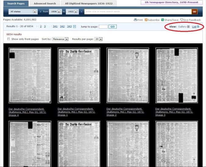 A screen capture from Chronicling America that shows the gallery view of search results.
