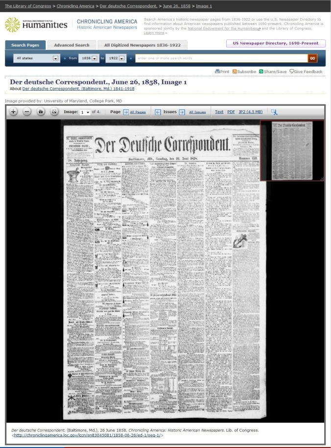 A screen capture from Chronicling America that shows the newspaper viewer.