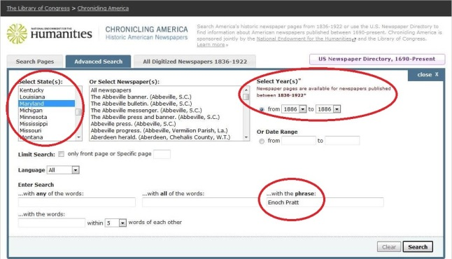 A screen capture from Chronicling America that illustrates how to use the advanced search.