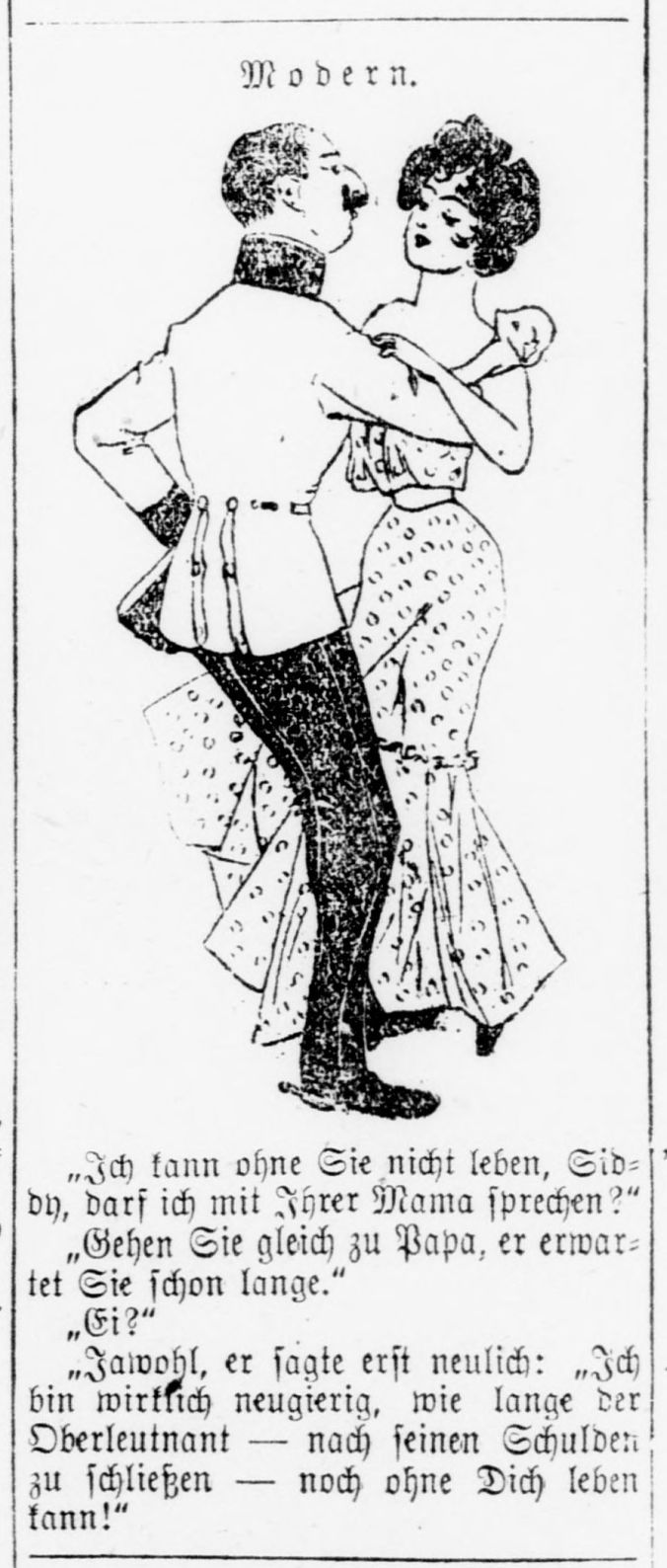 Illustration of a man and woman dancing with German text underneath.