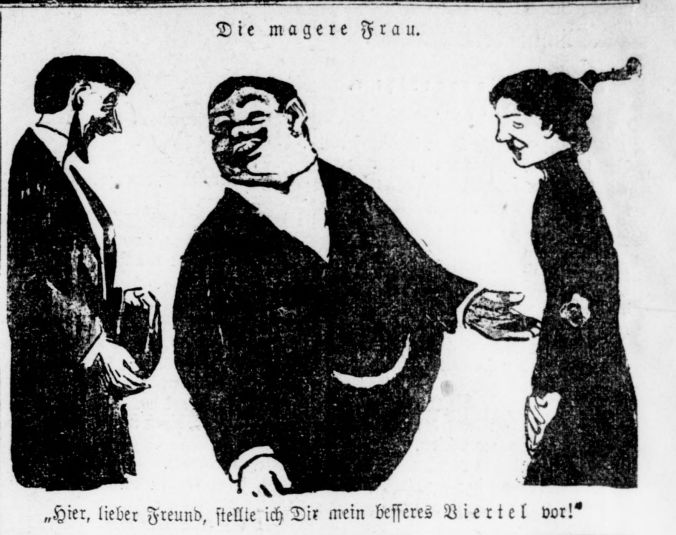 Illustration of two men, one more rotund than the other, and a woman laughing.