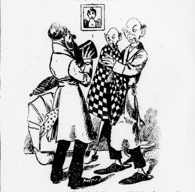 Illustration of a man holding a top hat speaking to a father holding a baby that looks nearly identical to his father.