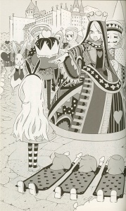 Alice is surrounded by the Queen of Hearts' subjects. The queen is pointing at Alice accusingly as four cards lay prostrate before her.