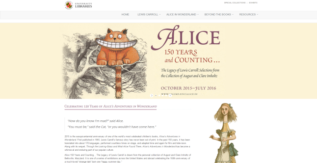 Alice exhibit website with an orange Chesire Cat in a tree on a beige background. Alice with a long neck is below the image on the right of the text about the site.
