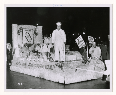 Local 1, Chicago IL, float in torchlight parade/rally for JFK, November 4, 1960.
