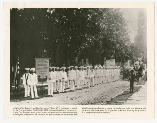 Parade assembly of bakers from Journeymen Bakers' and Confectioners' Union Local 114, Portland, OR, Labor Day, 1902
