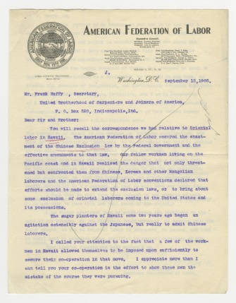 Letter from Samuel Gompers to Frank Duffy, September 15, 1905. UBCJA Archives, Series 12, Subseries 1.