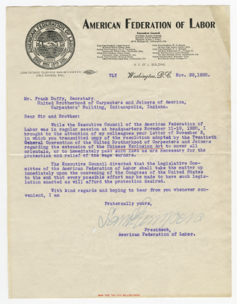 Letter from Samuel Gompers to Frank Duffy, November 29, 1920. This letter is on display in the gallery in Hornbake Library and available in the online exhibit. UBCJA Archives, Series 12, Subseries 1.