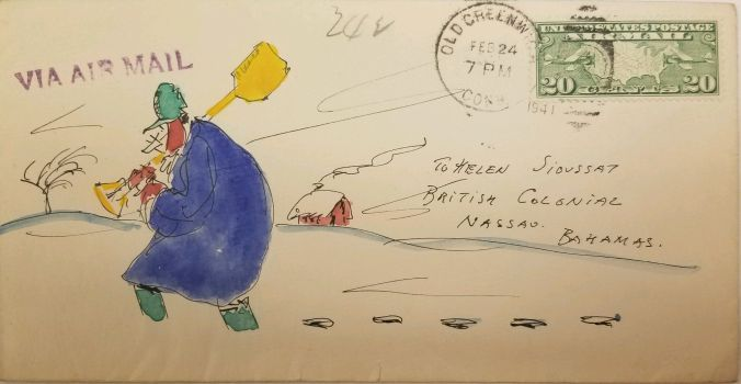 Self portrait of Hendrik Willem van Loon in a wintry landscape outside his home in Old Greenwich, Connecticut. On an envelope sent from van Loon to Helen Sioussat.