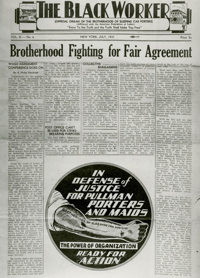 Front page of The Black Worker, July 1937