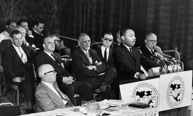 Photo of Martin Luther King, Jr. speaking at the Fourth Constitutional Convention of the AFL-CIO