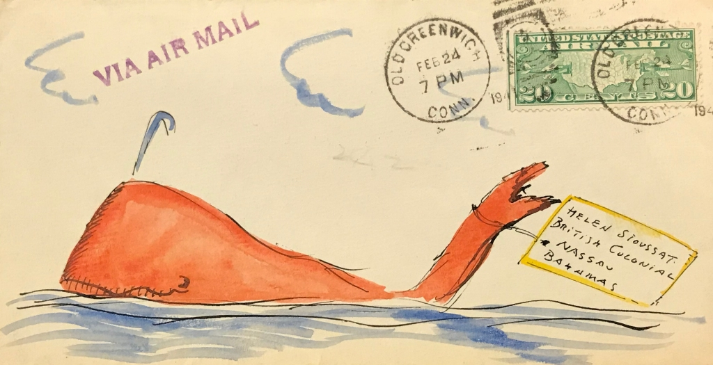 Illustration of a whale on an envelope by Hendrik Willem van Loon, sent via airmail to Helen Sioussat in Nassau, Bahamas