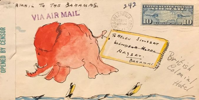 Illustration of an elephant floating above the ocean on an envelope sent via airmail to Helen Sioussat in Nassau, Bahamas by Hendrik Willem van Loon. Opened by censor.