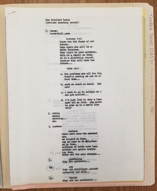 """Front page of the revised shooting script for """"The Troubled Teens"""""""