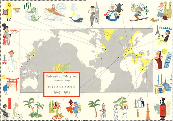 "Map entitled ""University of Maryland, University College, Global Campus, 1949-1964"" indicating locations of overseas programs"