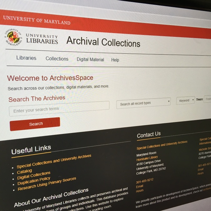 ArchivesSpace homepage screen shot from December 19, 2018