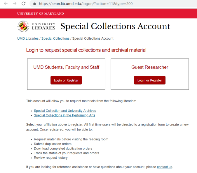 Special Collections Account login screen