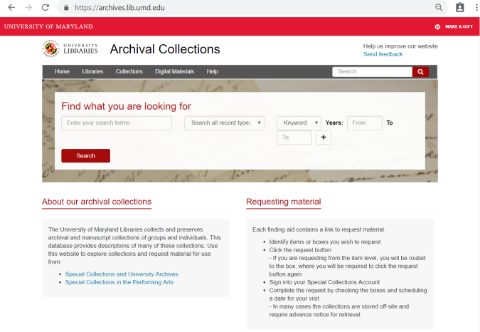 Archival collections homepage
