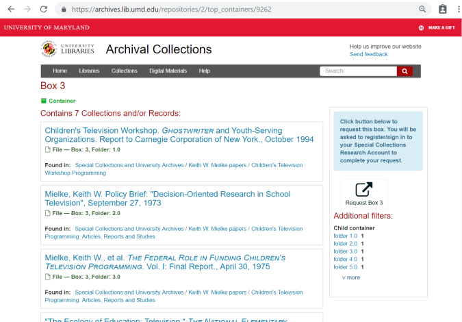 Archival Collections box list page
